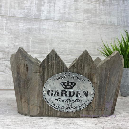 Кашпо деревянное - корона