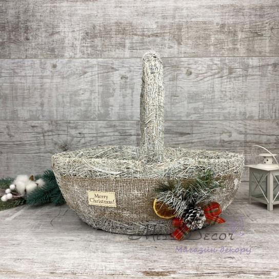 Корзина хл + новогодний декор белая