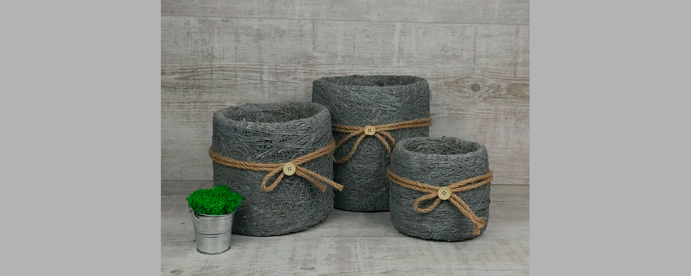 Кашпо и корзины из сена