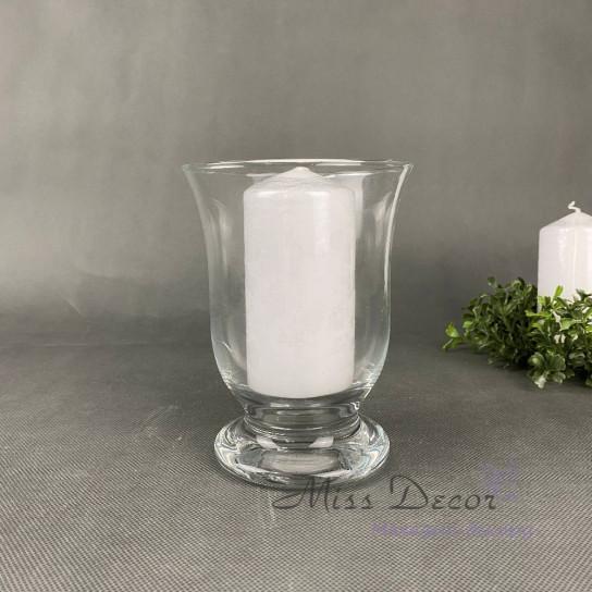 Стеклянная ваза подсвечник малый 15 см
