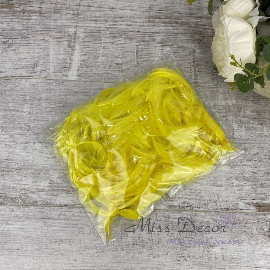 Перья в пачках желтые