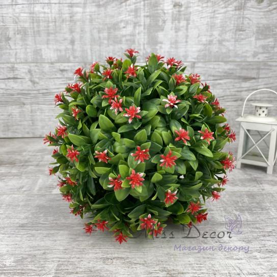 Шар декоративный зеленый лист + цветочки микс