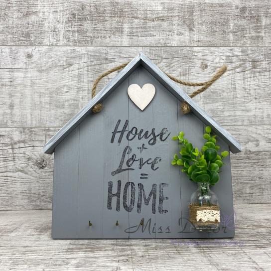 Декоративная доска домик серый