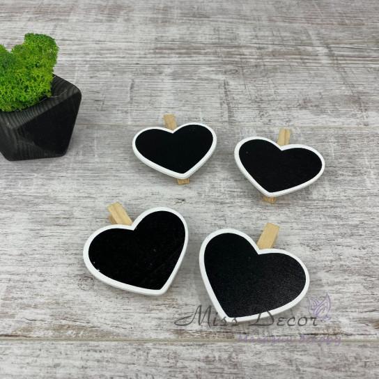 Прищепки декоративные с сердечком 7см/4шт 8DY5770