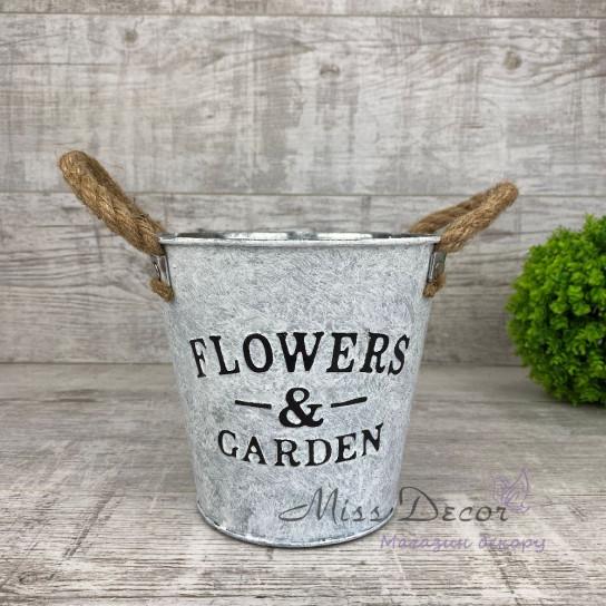 Ведро flowers & garden канатные ручки