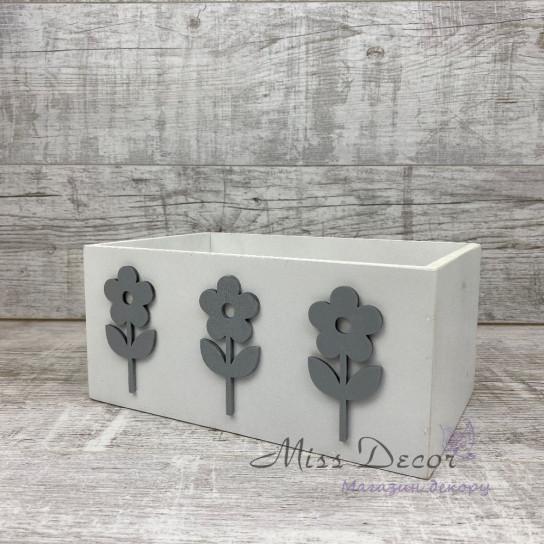 Ящик деревянный flowers белый