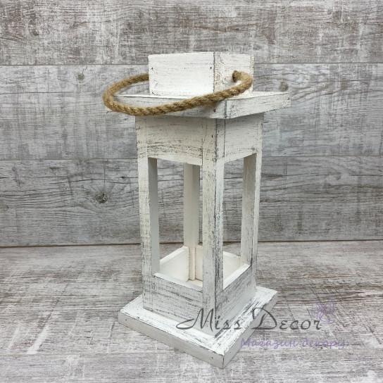 Деревянный фонарь - подсвечник малый белый