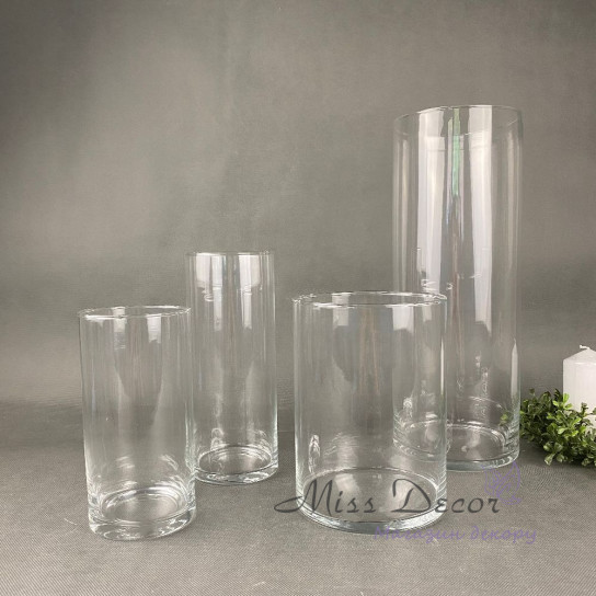 Стеклянная ваза цилиндр 20 см
