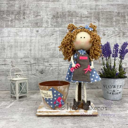 Интерьерная кукла Парикмахер + кашпо