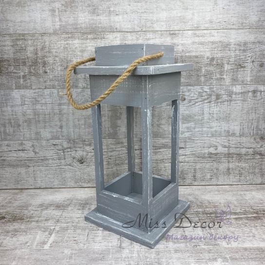 Деревянный фонарь - подсвечник большой