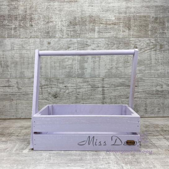 Деревянная корзина большая 107 (фиолетовая)