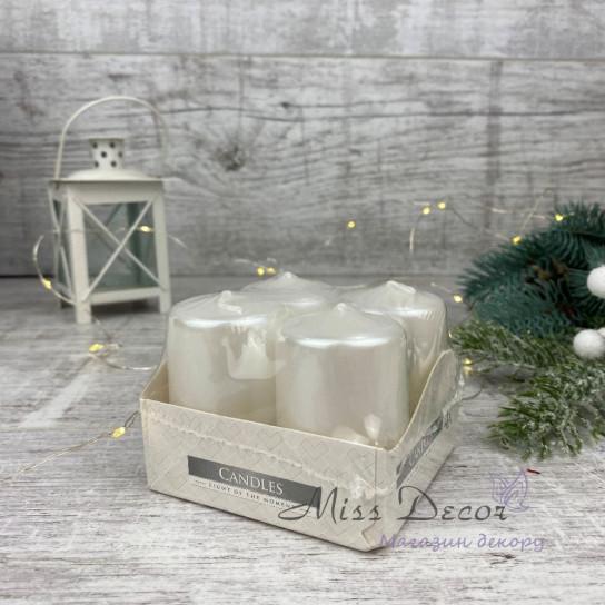 свечи малые 5,5см (набор 4шт) белый перламутр