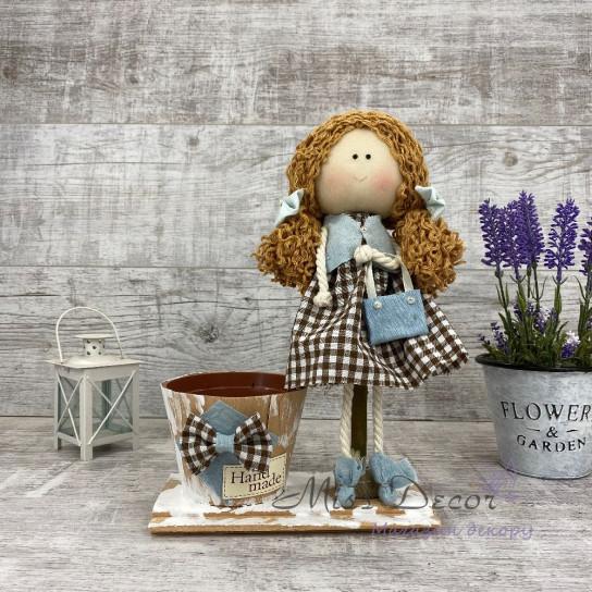 Интерьерная кукла с сумочкой + кашпо