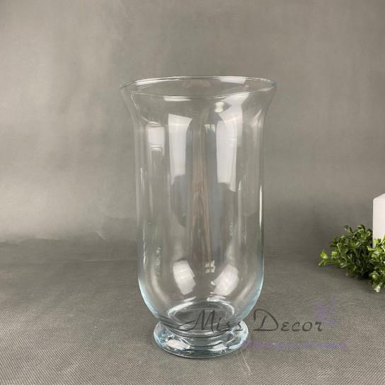 Стеклянная ваза подсвечник большой 25 см