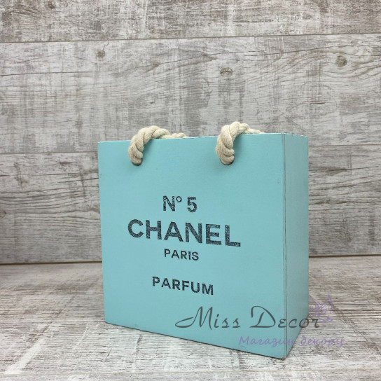 Деревянное кашпо пакет chanel малый мятный