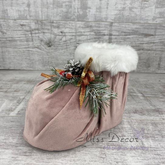 Ботинок кашпо  розовый