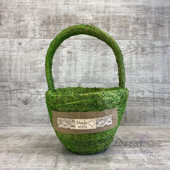 Корзина круглая малая зеленая