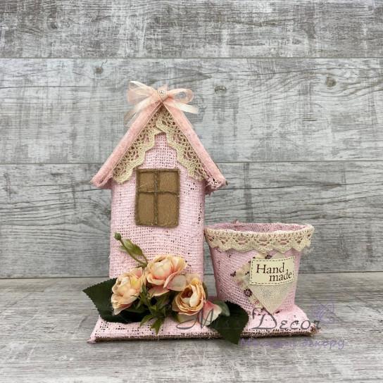 Кашпо + домик розовый