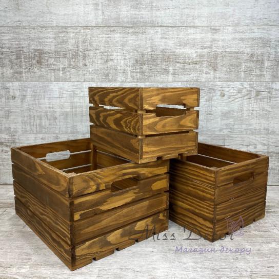 Набор деревянных ящиков 3 шт коричневые