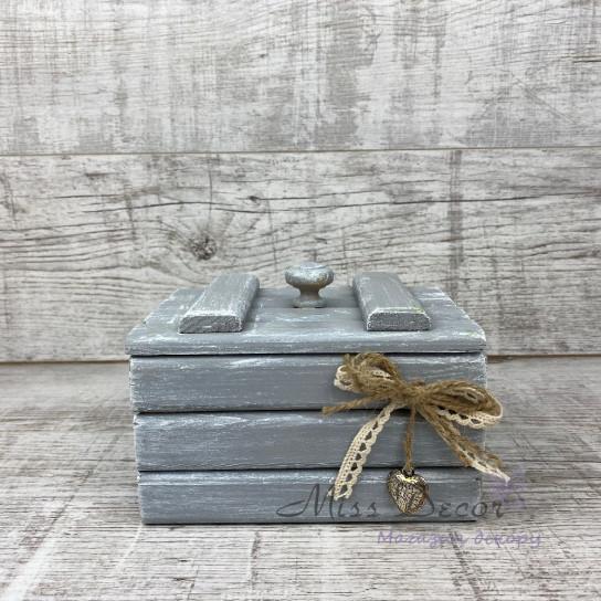 Шкатулка деревянная малая серая