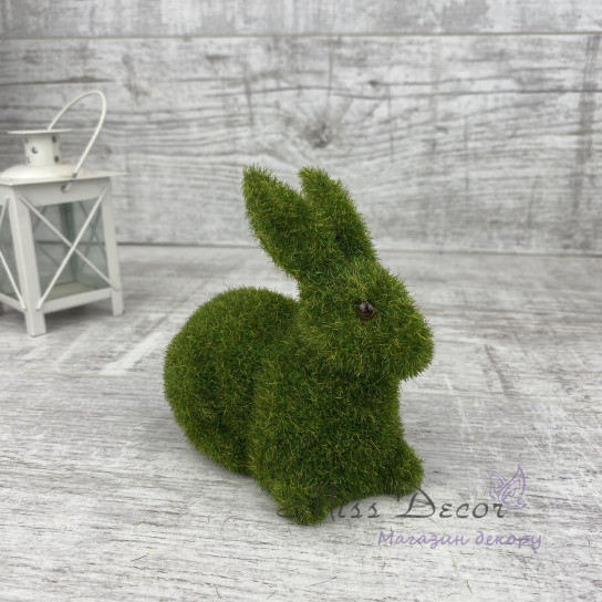 Декоративная фигура - Зайчик зеленый мох SF267