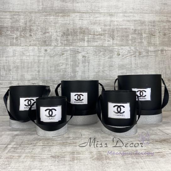 Набор шляпных коробок 5 штук черные с серебром