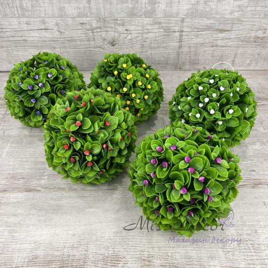 Шар декоративный зеленый + цветочки микс