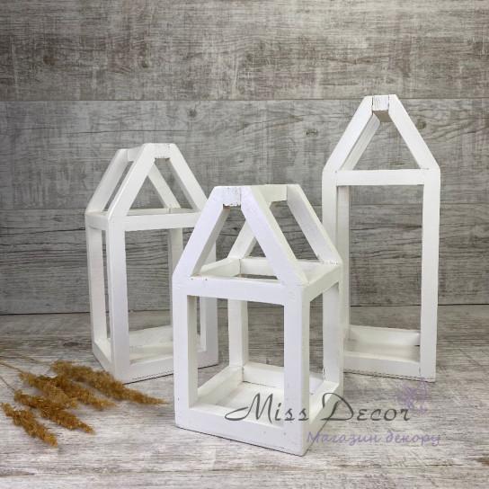 Деревянный фонарь домик большой - белый