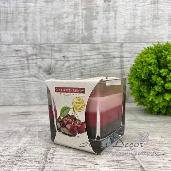 Ароматическая трехцветная свеча в стекле BISPOL  Chocolate Cherry