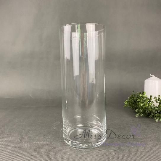 Стеклянная ваза цилиндр 25 см