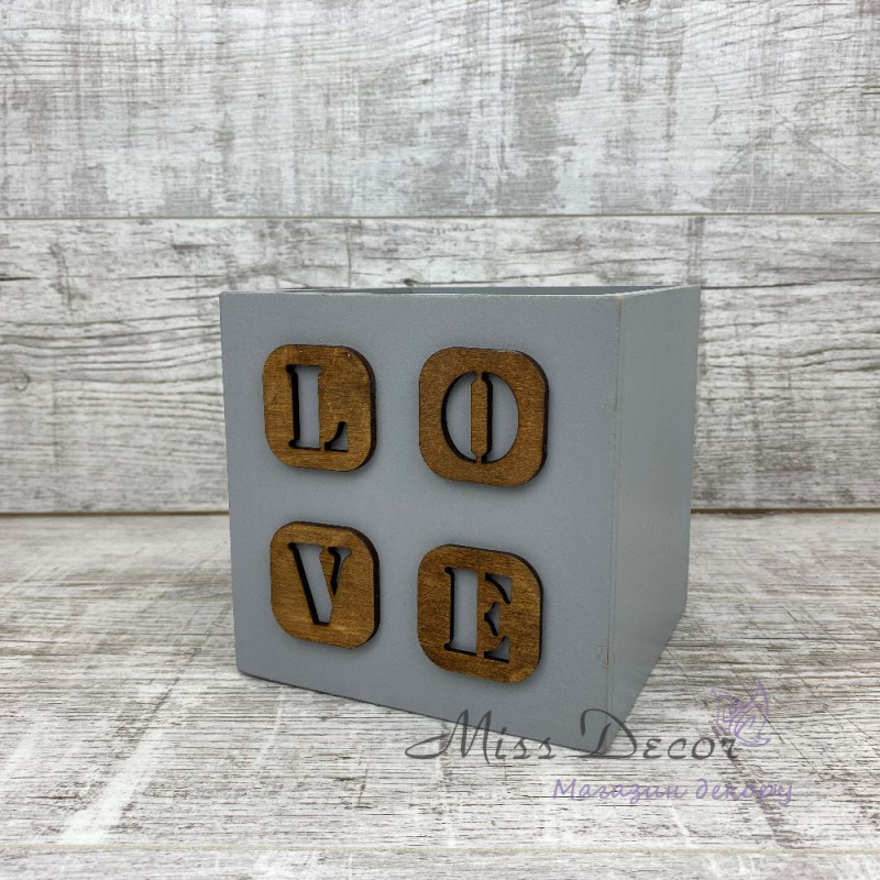 Ящик деревянный love серый