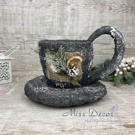 Чашка малая + новогодний декор серая