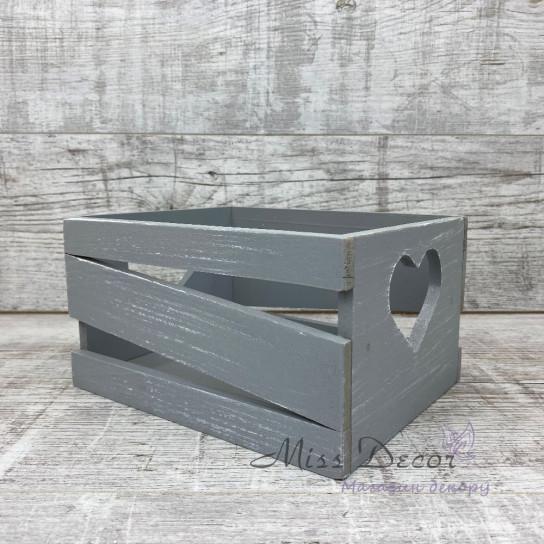 Ящик сердце малый серый