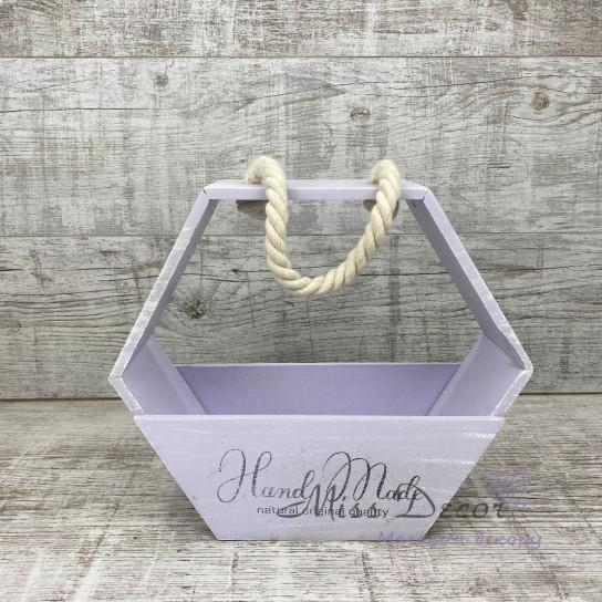 Деревянное кашпо Сота фиолетовая