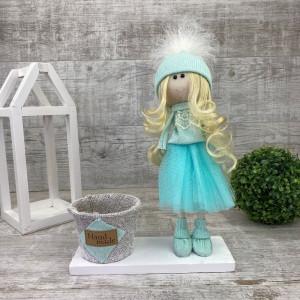 Интерьерная кукла + кашпо в фатиновой юбке *рандомный выбор цвета