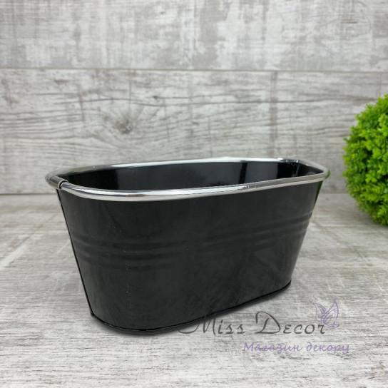 Кашпо овальное малое черное colors 167085
