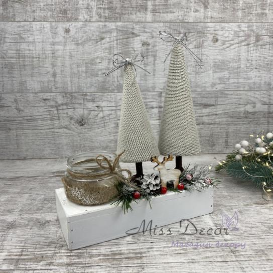 Новогодний подсвечник + вязаные елки