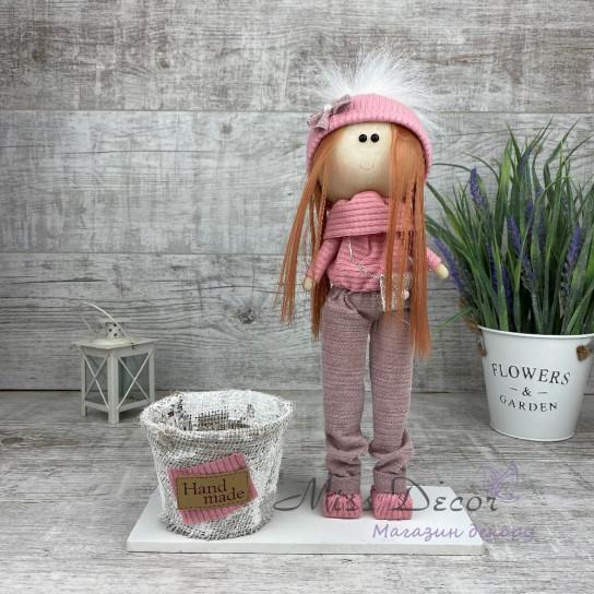 Кукла интерьерная + кашпо в штанишках