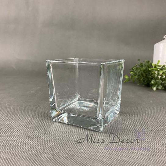 Стеклянная ваза куб 8 см