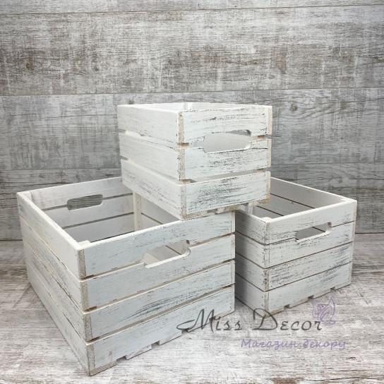 Набор деревянных ящиков 3 шт белые