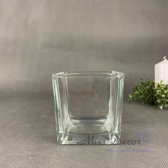 Стеклянная ваза куб 10 см