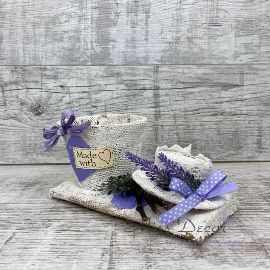 Кашпо + шляпа lavender