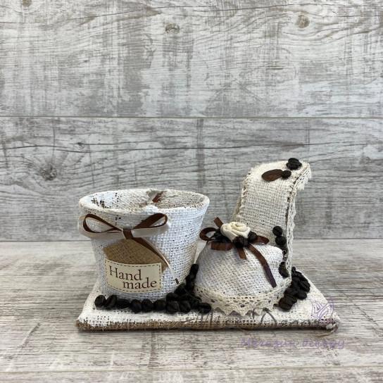 Кашпо + туфелька coffe