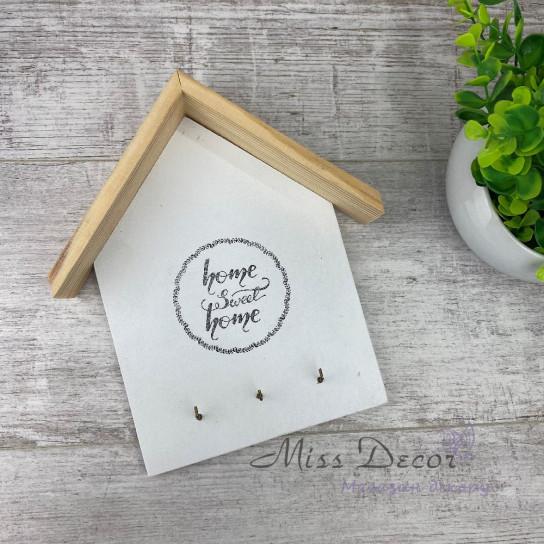 Ключница домик белая + дерево