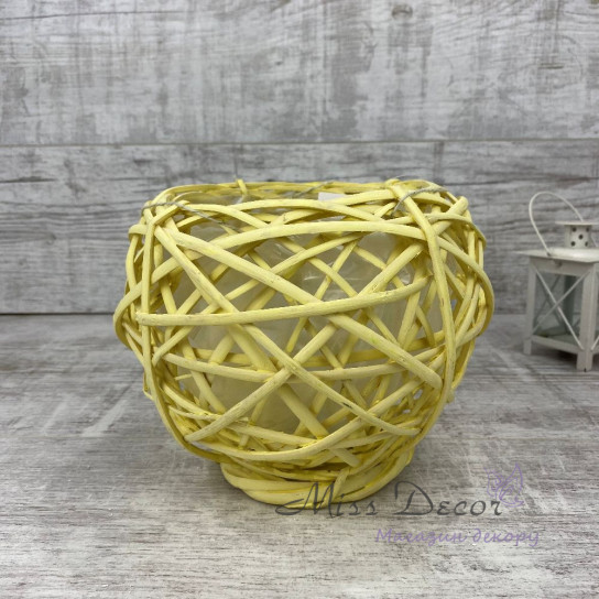 Кашпо плетенное круглое желтое  J15806