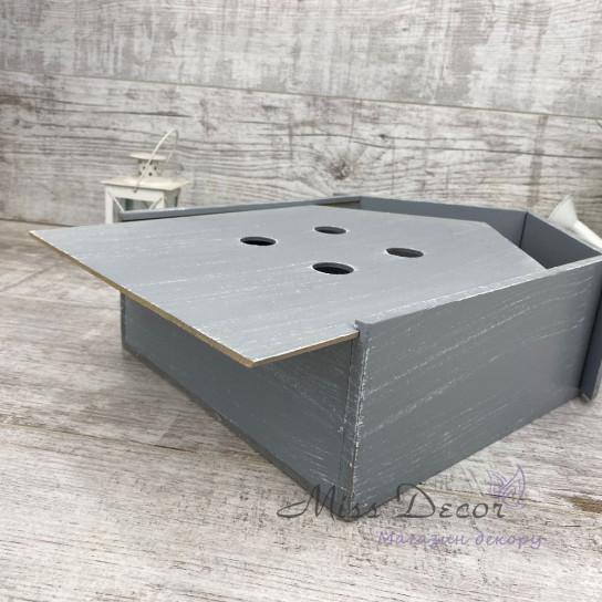 Деревянный гифт бокс домик серый