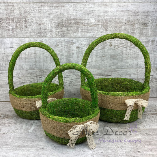 Набор корзин круглых 3 шт зеленый