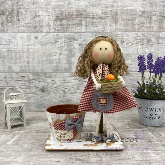 Интерьерная кукла с фруктами+ кашпо