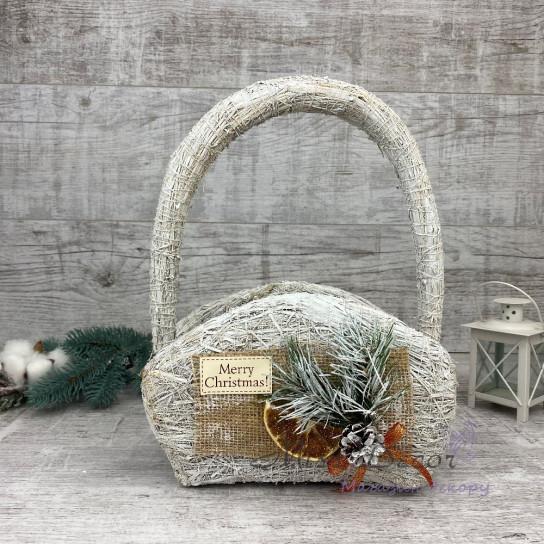 Корзина сумка+ новогодний декор белая