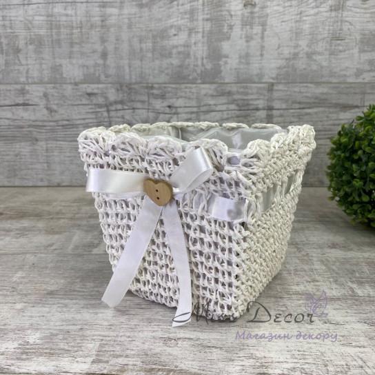 Кашпо декоративное плетеное - белое WY16-02